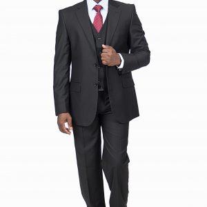 P1802-GC1 Slim Fit Three Piece Zuccari Black Suit.